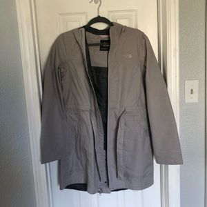 Grey North Face Tie Trench Coat